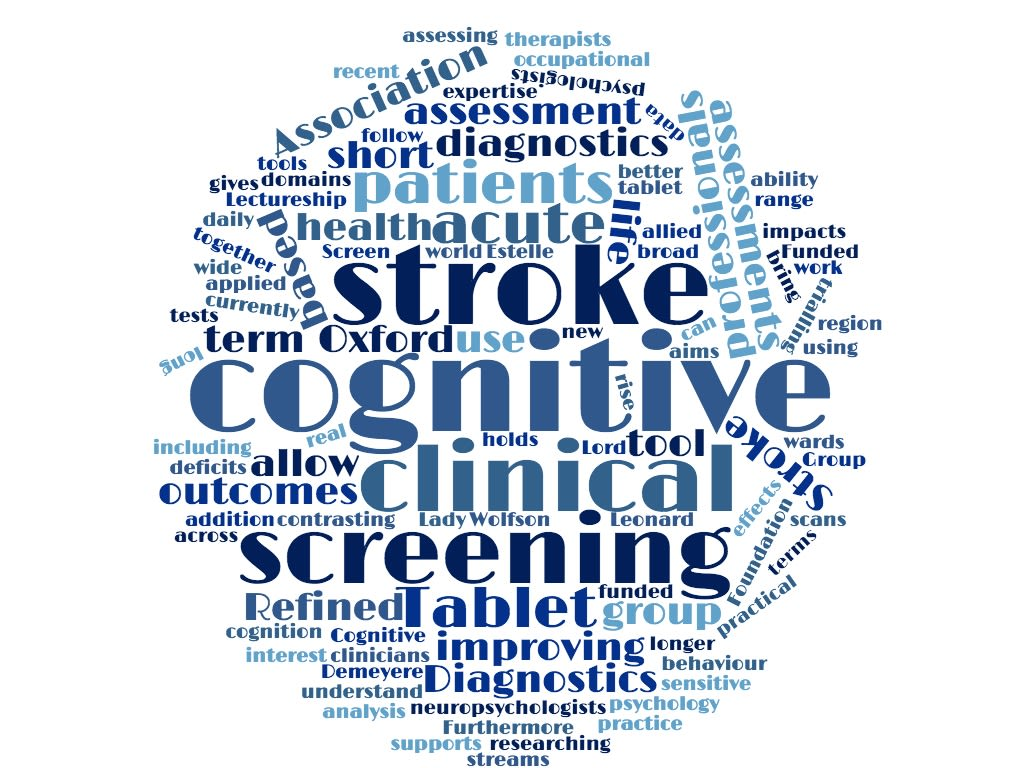 What can cognitive psychology contribute to clinical practice?  Our interest is in developing sensitive clinical tools for assessing a wide range of behaviour and cognition.  Furthermore, we are researching the effects of cognitive impairments in the real world, in terms of practical activities of daily life and quality of life. Our group supports the cognitive screening of stroke patients across the Oxford region.