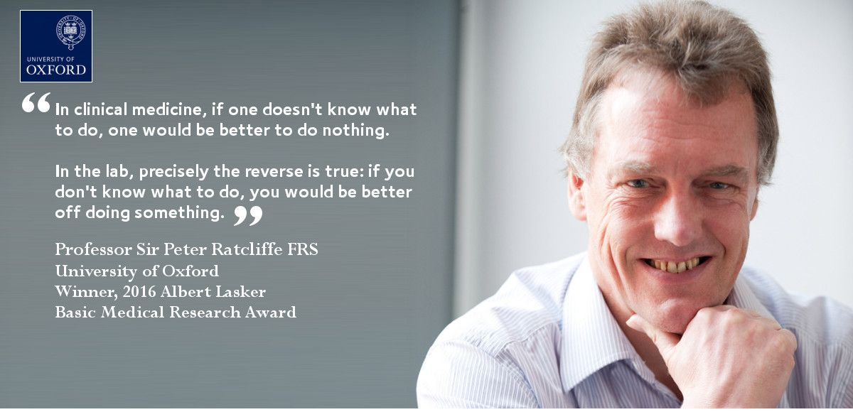 The University of Oxford's Professor Sir Peter Ratcliffe has won one of the most prestigious prizes in medicine.