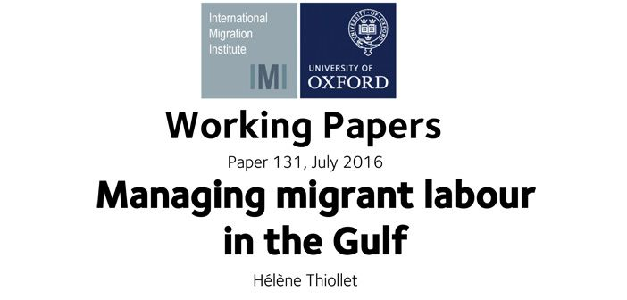 Working paper: Managing migrant labour in the Gulf