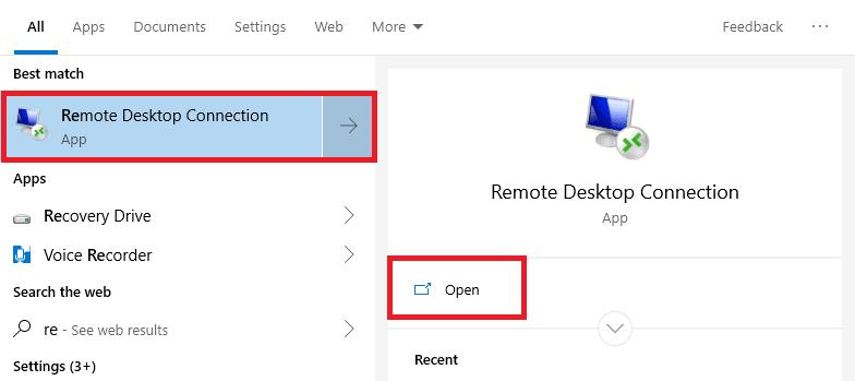 Trở lại với màn hình Desktop, bạn chọn vào Start hoặc chọn vào khung tìm kiếm Cortana sau đó gõ với từ khoá remote –> Xuất hiện App Remote Desktop Connection –> Open