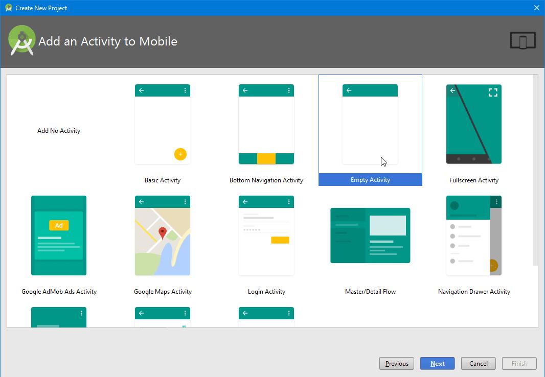 Tạo một dự án Android Studio
