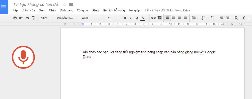 Thử nghiệm nhập văn bản bằng giọng nói trên Google Docs.