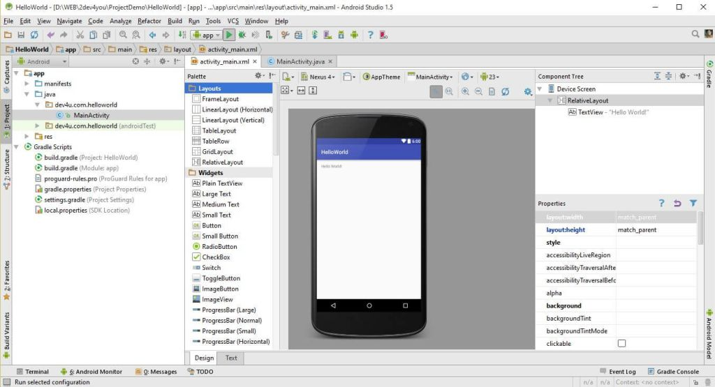 Giao diện Android Studio