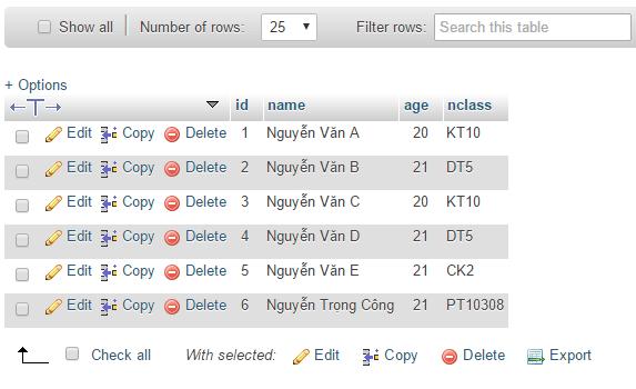 Thông tin sinh viên vừa thêm hiển thị trong database