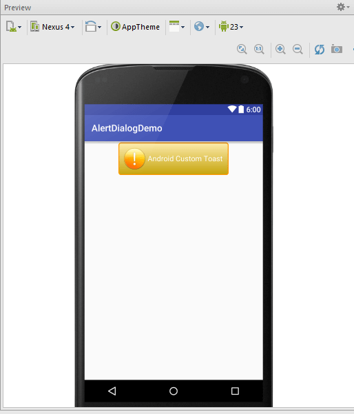 Custom Toast trong Android - Hình trên chính là xem trước của file xml trên