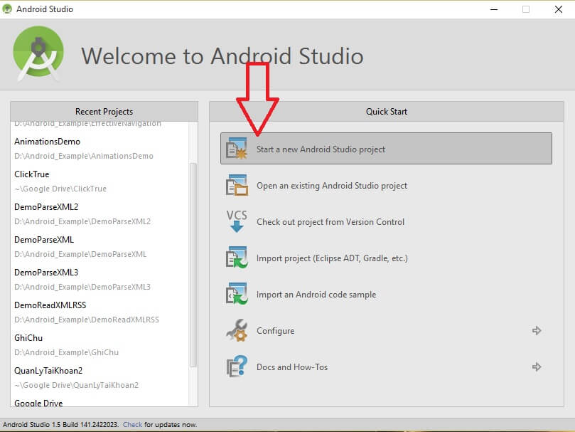 Tạo Project Android mới bằng Android Studio