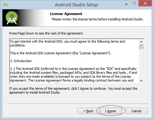 Chọn I Agree để chấp nhận các điều khoản trong giấy phép sử dụng của Android Studio.