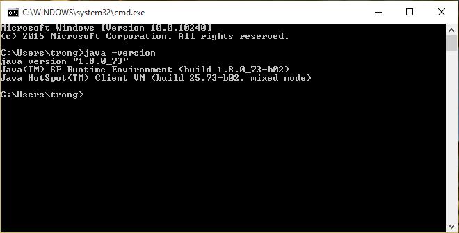 Kiểm tra phiên bản JDK hiện tại: java -version