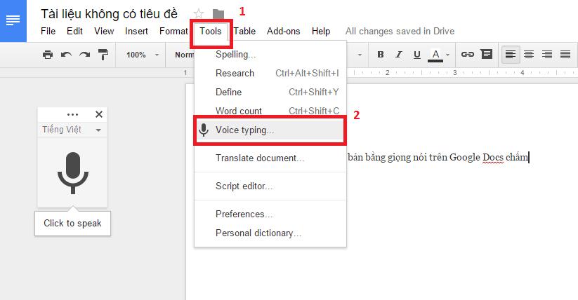 Hướng dẫn mở voice typing cho google docs.