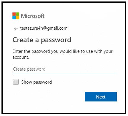 Tại đây bạn tạo tên tài khoản Microsoft và đặt mật khẩu –> Tiếp theo