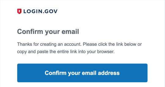 Creating login.gov account step 3