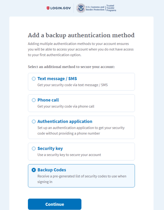 Creating login.gov account step 5