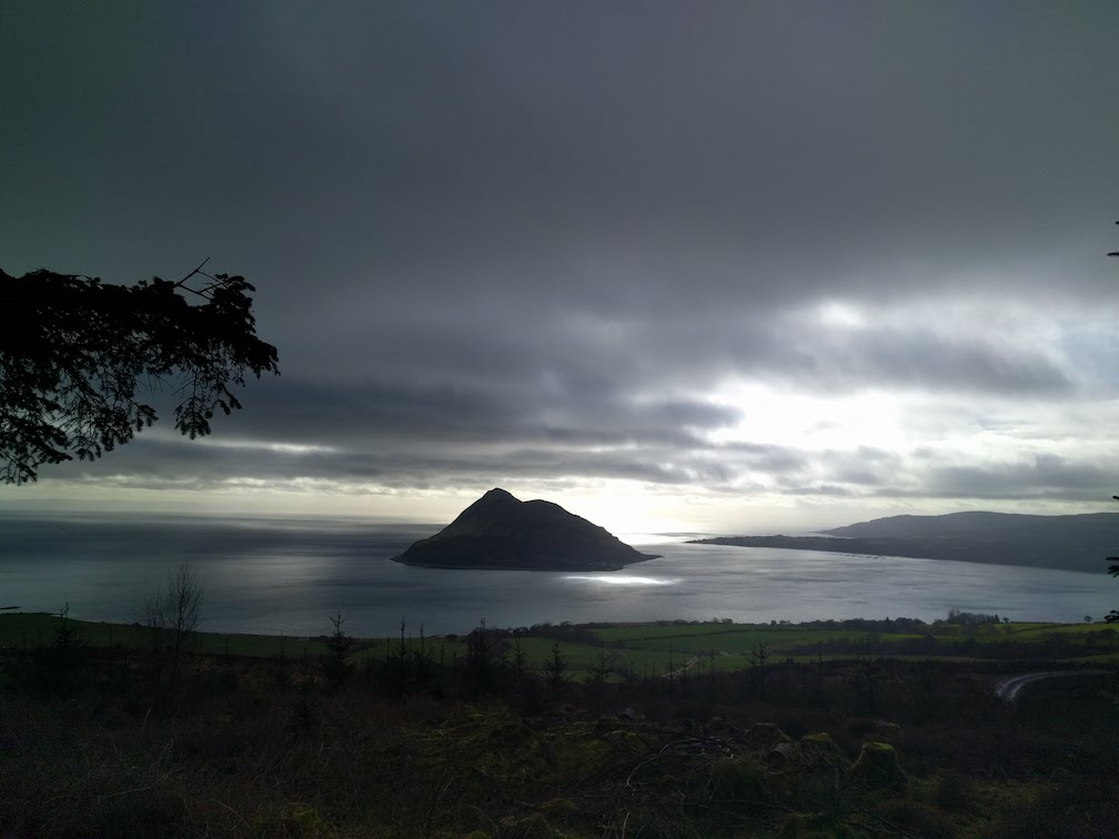 view of holy isle from clauchland hills