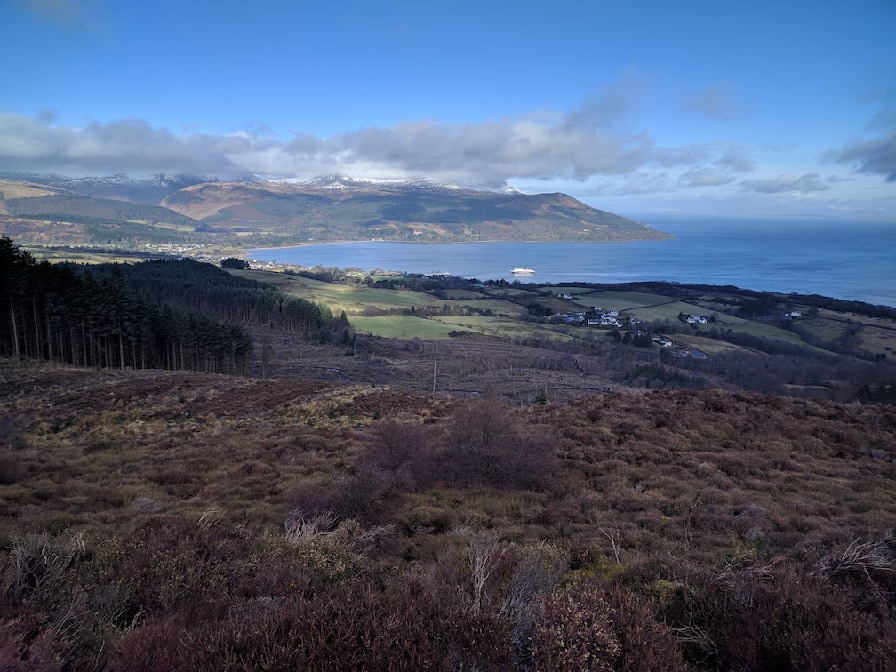 view of brodick and arran ferry from clauchland hills