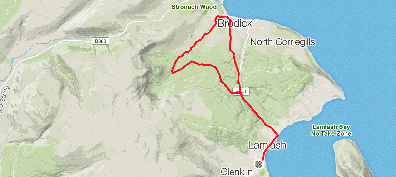 running route from lamlash to brodick