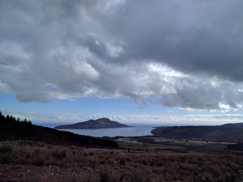 a view of holy isle and cordon from near the ross