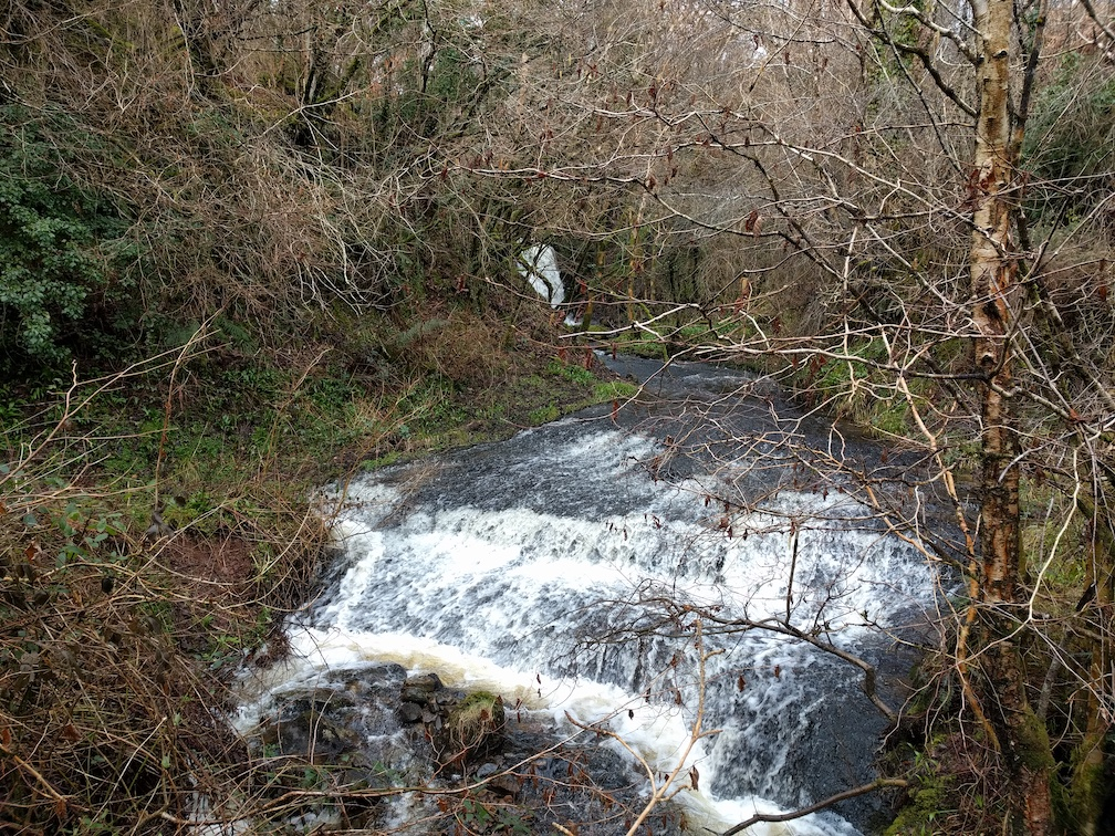 burn stream and waterfall near whiting bay