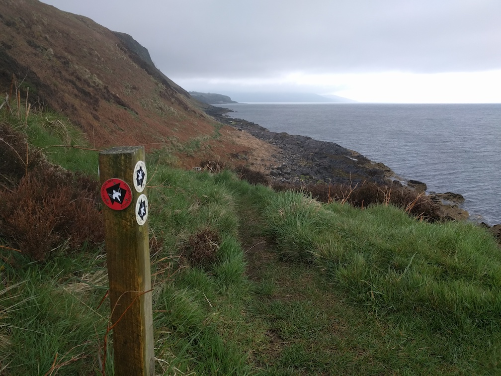 arran costal way sign at clauchland hills
