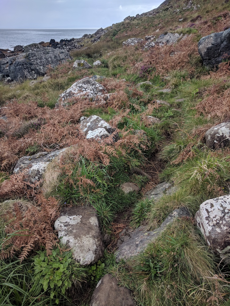 rocky terrain on arran coastal path