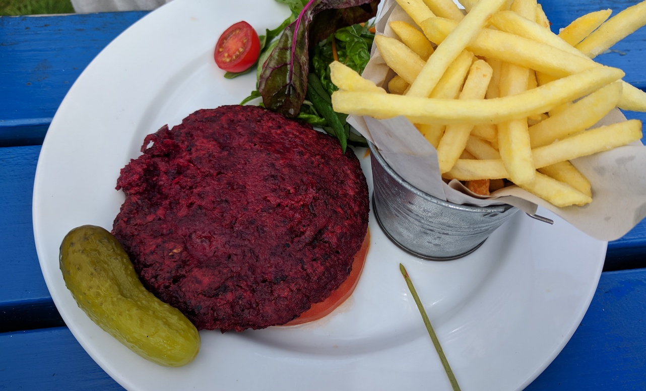 beetroot and chickpea burger at the drift inn lamlash