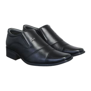 Black Genuine Leather Formal Shoes Lace free