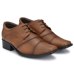 Tan Genuine Leather Formal Lace Shoes for men