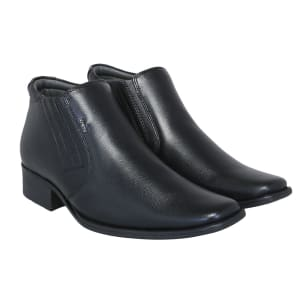 Black Genuine Leather Formal Ankle Boot
