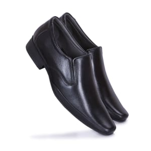 Black Leather Formal Slip-on Shoes For Men