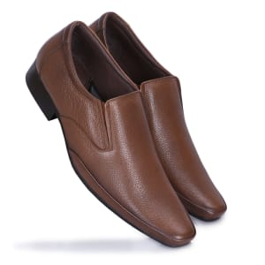 Tan Leather Formal Slip-on Shoes For Men