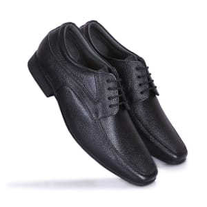 Black Leather Laceup Shoes for Men