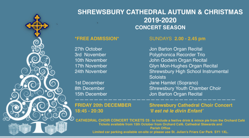 Don't miss out on Shrewsbury Cathedral's Autumn & Christmas Season
