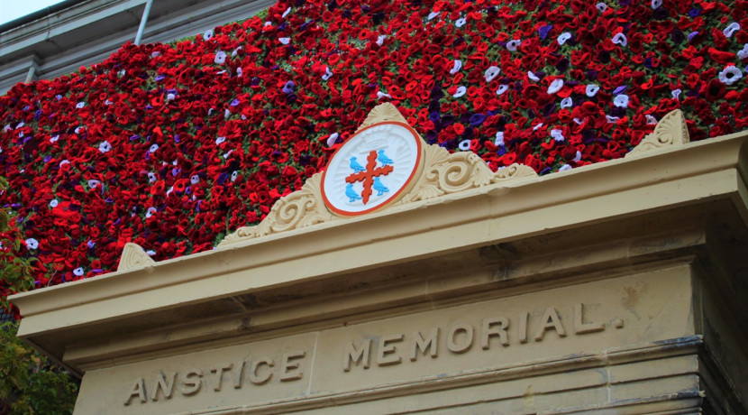 Knitted poppy cascade at The Anstice honours war heroes