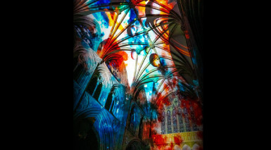 Space-themed sound and light show visits Worcester Cathedral