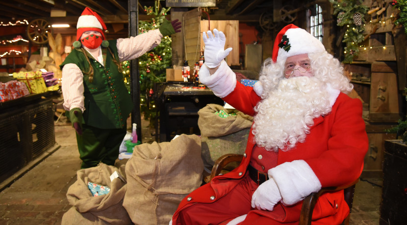 Santa and his elves looking very dapper at Blists Hill