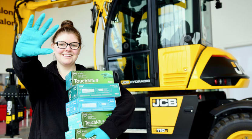 JCB donate thousands of gloves and face masks to Royal Stoke Hospital