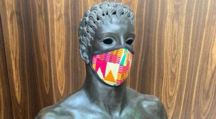 Local artist designs face coverings inspired by city's collection