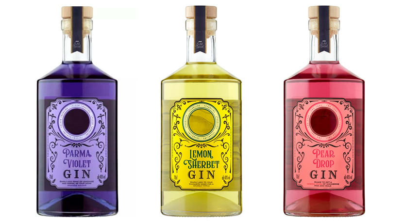 Asda has launched lemon sherbet, pear drop and parma violet flavoured gins