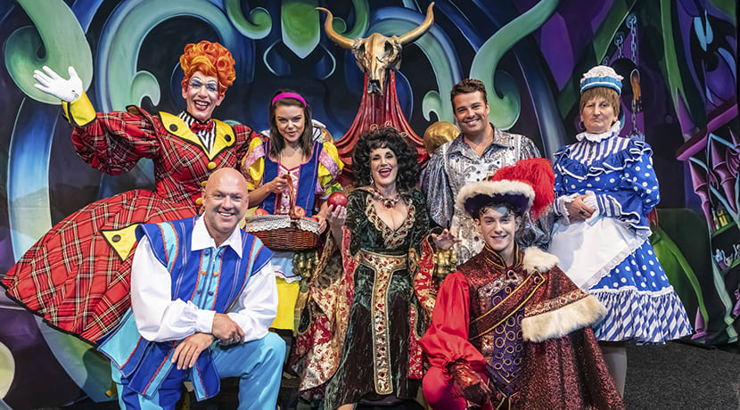 Cast of Birmingham Hippodrome's Snow White and the Seven Dwarfs in costume for the first time