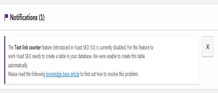 Text link feature introduced in Yoast SEO 5.0 is currently disabled
