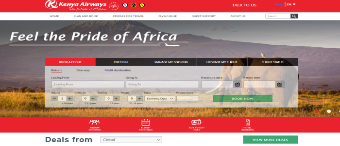 Kenya Airways Home page