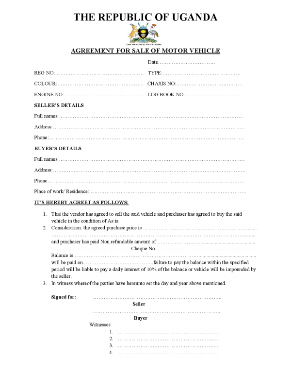 Motor Vehicle Sale Agreement The Republic Of Uganda  Car Sale Agreement Sample