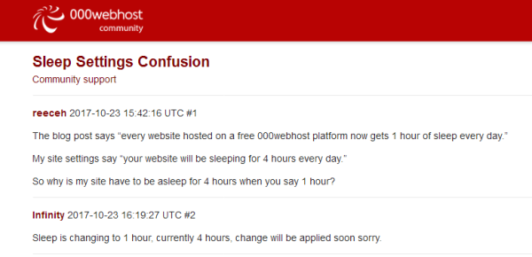 000webhost sleep settings