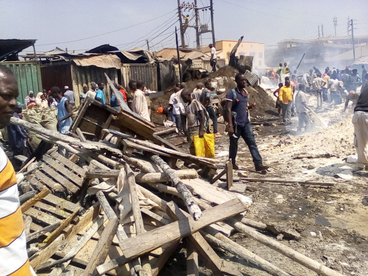 Destroyed stalls in Kisenyi fire