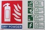 Dry powder extinguisher ID sign