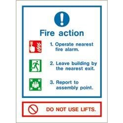 Fire action notice (do not use lift)