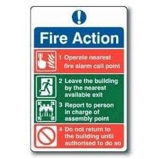 Fire action notice (no re-entry)