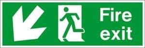Fire Exit Arrow Left Down