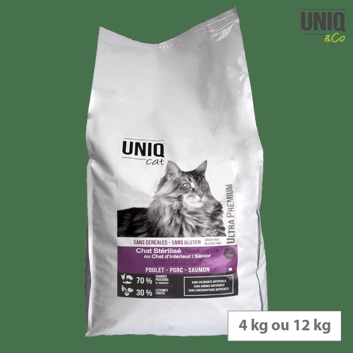 Croquettes sans céréales UNIQ Cat Chat stérilisé Chat d'intérieur 12 kg