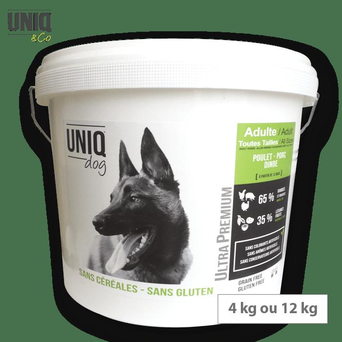 Croquettes sans céréales UNIQ Dog-Chien adulte toutes tailles (poulet, porc et dinde) 4 kg