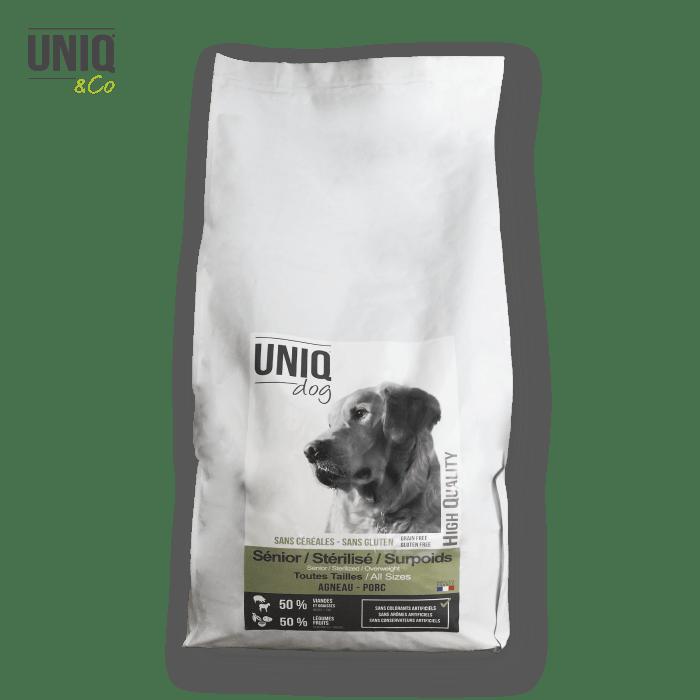 Croquettes LIGHT sans céréales UNIQ Dog  pour les chiens  de toutes tailles séniors, stérilisés ou en surpoids  - sac de 12 kg